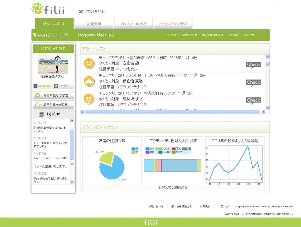 Filii-ダッシュボード画面(PC版)